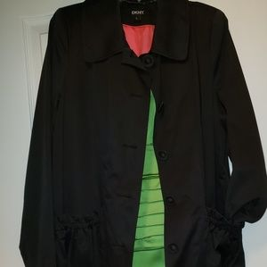 DKNY Black Stylish Rain Coat - L